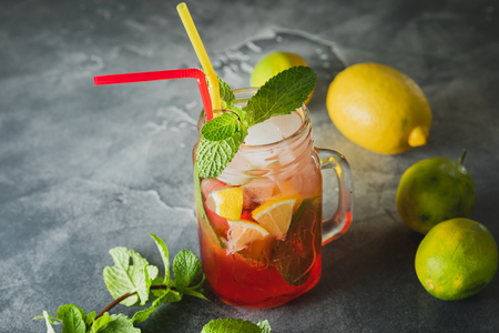 Cold summer drink with lime and mint leaves. Natural drinks Stock Photo