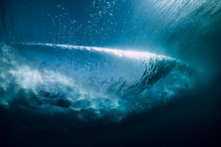 Underwater wave. Perfect barrel wave crashing in ocean.