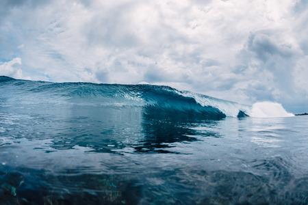 Blue wave in ocean. Clear water in Hawaii