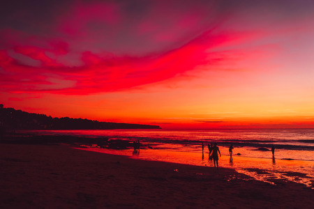 Ocean and colorful sunset or sunrise at beach