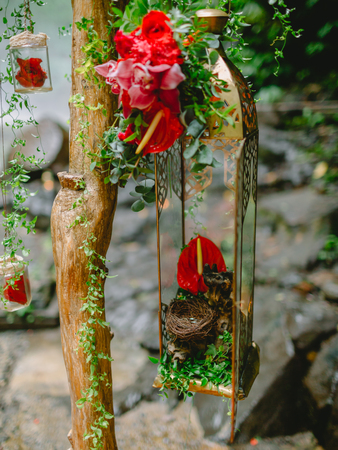 Beautiful flowers and decorations for wedding arch
