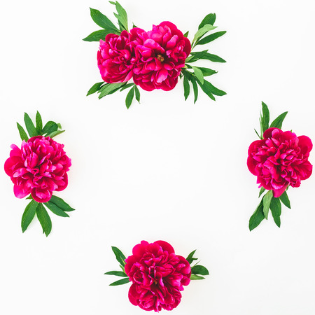 Floral composition with peony flowers on white background. Flat lay, top view.