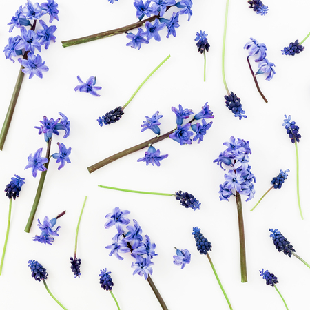 Pattern with blue or pink flowers and petals on white background. Flat lay, top view. Stock Photo