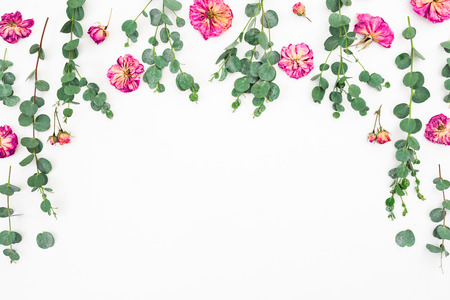 Floral composition of pink flowers and eucalyptus on white background. Flat lay, top view. Copy space