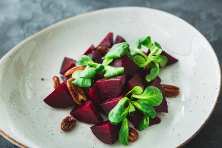 Vegetarian salad with beet. Closeup view. Natural food Stock Photo