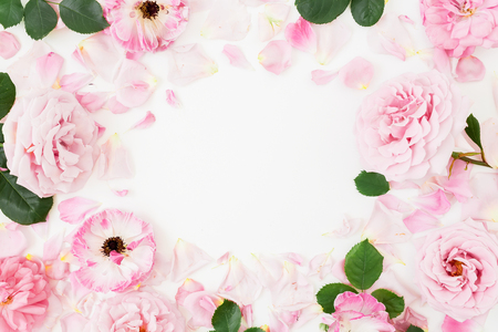 Frame composition of pink flowers on white background. Flat lay, Top view. Flowers texture. Stock Photo