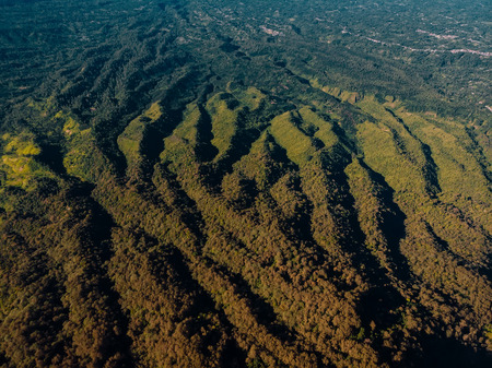 Aerial view from Abang mountain with textures and forest in Bali