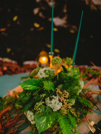 Stylish wedding decoration with candles, decor and floristic. Wedding dinner