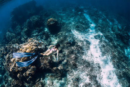 Woman freediver glides underwater with sea turtle. Snorkeling with turtle in blue ocean
