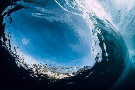 Underwater wave. Barrel wave crashing in ocean. Banque d'images - 124747435