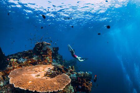 Femme apnéiste glisse avec palmes à épave. Plongée en apnée dans l'océan bleu près de l'épave Banque d'images
