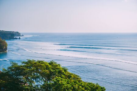Blue big waves for surfing in Bali, Tropical tree and ocean waves in Indonesia