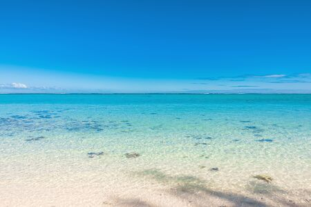 Tropical scenery - beautiful beach with transparent ocean and blue sky of Mauritius
