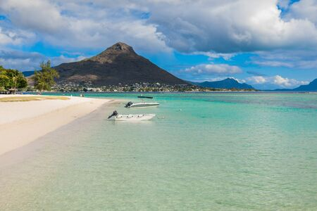Tropical beach with ocean. Flic en Flac beach in Mauritius island