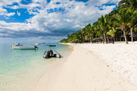 Beautiful view of the luxury beach in Mauritius. Transparent ocean, white sand beach, palms and blue sky
