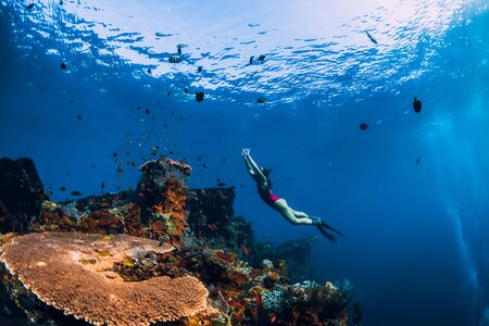 Free diver girl swimming underwater over wreck ship.