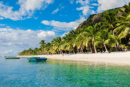 Tropical view of the resort on Mauritius. Ocean with boat, sandy beach with palms and sky