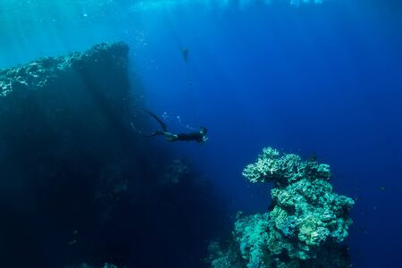 Free diver dive in deep ocean, underwater view with rocks and corals. Freediving in Bali