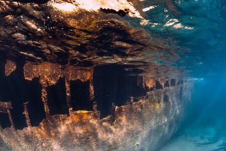 Wreck ship underwater in blue ocean near Arrecife at Lanzarote