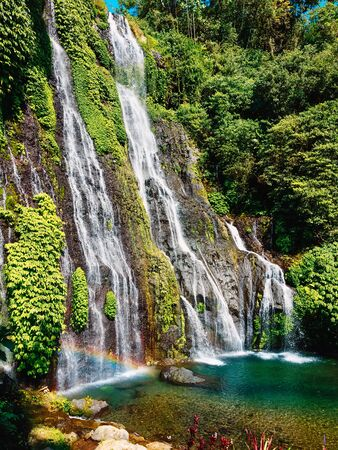 Cascade waterfall in a tropical jungle in Bali, Indonesia