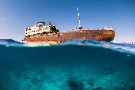 Telamon wreck ship in blue ocean. Arrecife, Lanzarote