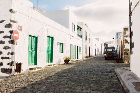 Haria, Lanzarote, Spain - April 29, 2020. The old architecture of Haria town