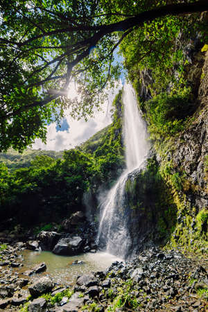 Highest waterfall in the tropical jungle of Mauritius island Reklamní fotografie