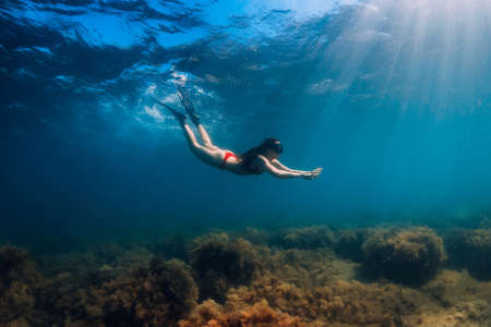 Freediver slim woman in bikini glides in blue sea and sun rays. Freediving with fins underwater in ocean Stock Photo