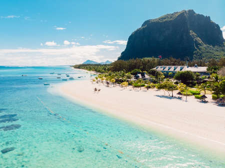 Luxury beach in Mauritius. Tropical beach with palms and transparent ocean. Aerial view Zdjęcie Seryjne