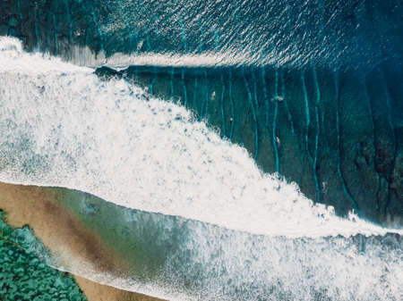Aerial view of a surfers in blue ocean with waves. Top view