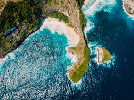 Aerial view of popular Kelingking beach at Nusa Penida Island.