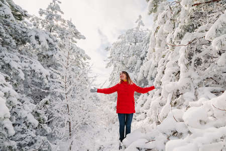 Young woman in red jacket among snowy trees in winter forest. Traveler woman with snow trees in sunny day Zdjęcie Seryjne