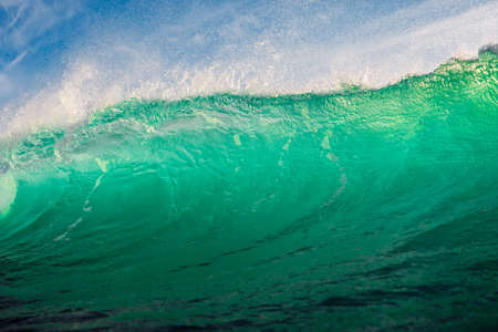 Perfect surfing wave in ocean. Breaking turquoise wave with sun light