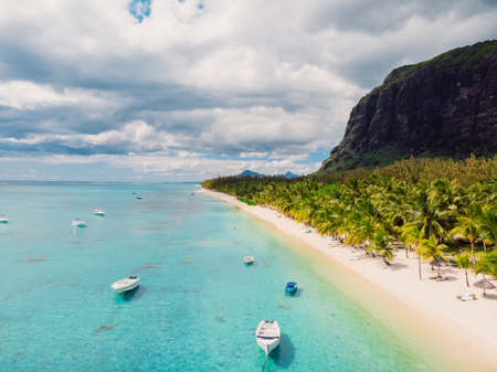 One eye beach with mountain in Mauritius. Beach with palms and ocean. Aerial view