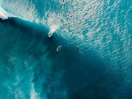 Aerial view of surfers in tropical blue ocean with waves at Bali island. Top view