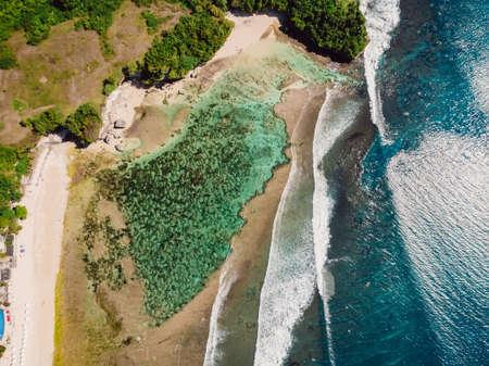 Aerial view of beach, lagoon and ocean in Bali, Balangan.