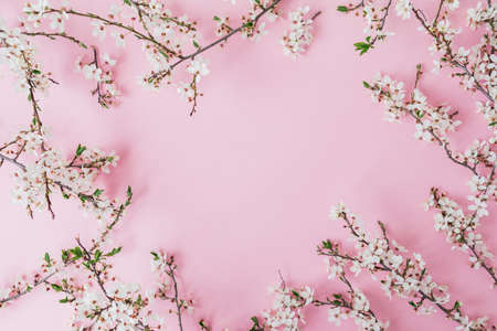 Floral frame of spring flowers isolated on soft pink background. Flat lay, top view. Spring time background. Stock fotó