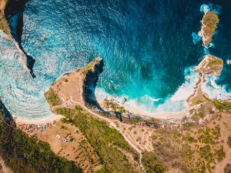 Aerial view of beach with blue ocean in Nusa Penida. Drone view Stock fotó