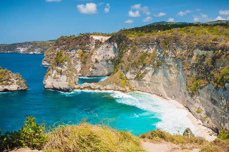 Diamond beach with rocks cliff in Nusa Penida, Indonesia Stock fotó