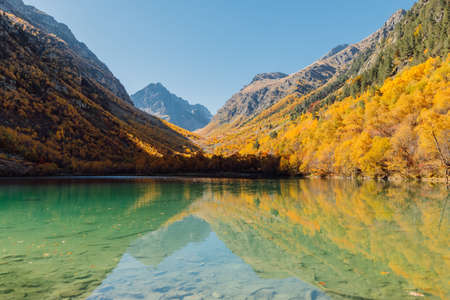Mountain lake with transparent water and colorful autumnal trees. Foto de archivo
