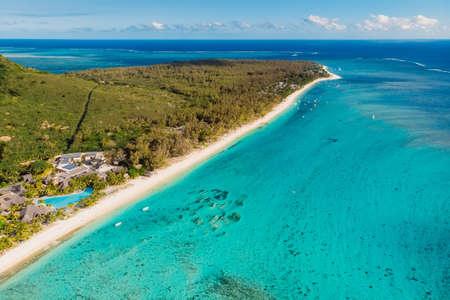 One eye beach at Mauritius with ocean and beach. Aerial view