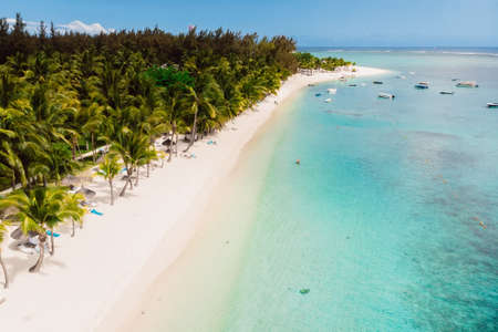 Luxury tropical beach with blue ocean in Mauritius. Sandy beach with palms. Aerial view Foto de archivo