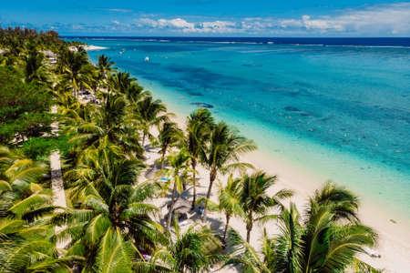 Tropical idyllic beach in Mauritius. Sandy beach with palms and ocean. Aerial view