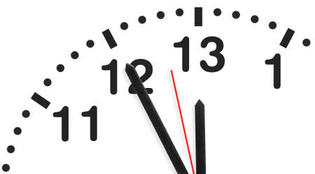 Five minutes before extended deadline on imaginary 26h clock. Time, stress or rush business concept. photo