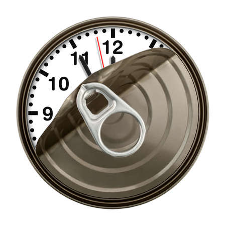 five to twelve: Clock in can shows five minutes to twelve. Time concept. Stock Photo