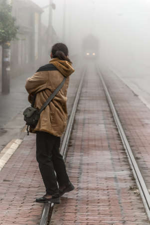 streetcar: Streetcar station on a misty morning.