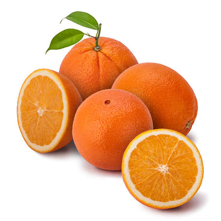 citrus maxima: A few perfectly fresh oranges, whole and halves. The orange is a hybrid, between pomelo (Citrus maxima) and mandarin (Citrus reticulata). Sweet oranges were mentioned in Chinese literature in 314 BC. Stock Photo