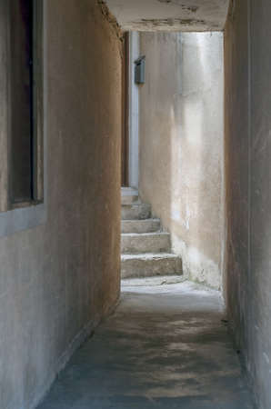 ruined: An old ruined grunge corridor.