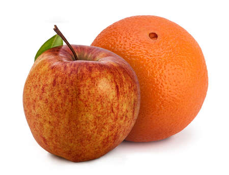 buddies: Apple and orange standing together to complement each other like two buddies.