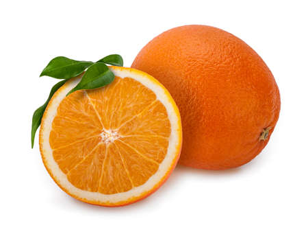 One and a half fresh oranges with leaves on white. The orange is a hybrid, between ~25% pomelo (Citrus maxima) genes and ~75% of mandarin (Citrus reticulata). Stock Photo